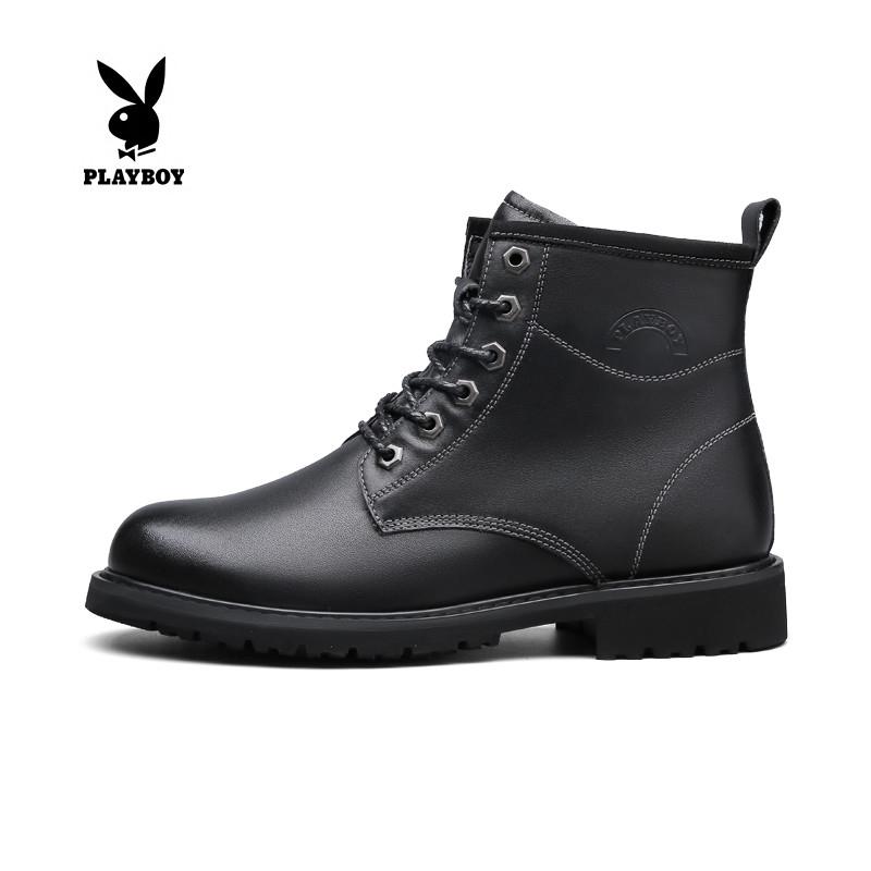 Playboy winter Korean fashion Plush mens boots leather high top Martin boots mens British Wind helper boots