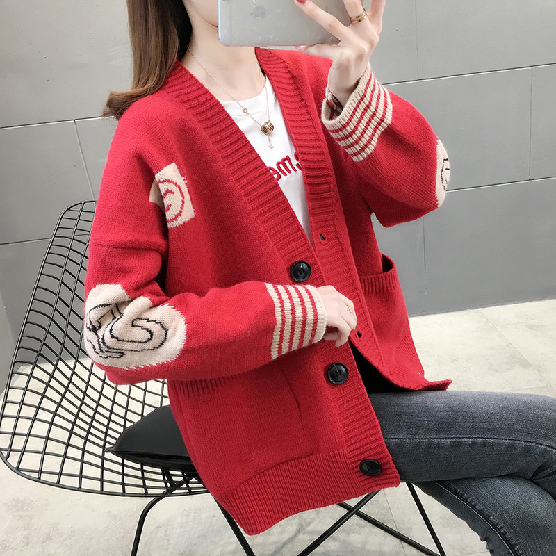 Spring birthday red cardigan coat womens knitting sweater women 2020 Korean new relaxed New Years clothes
