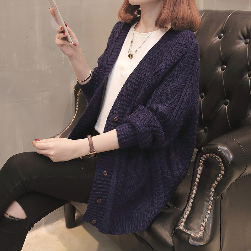 Lazy style knitted cardigan womens Korean version 2020 spring and Autumn New Womens mid length loose sweater autumn and winter coat thick