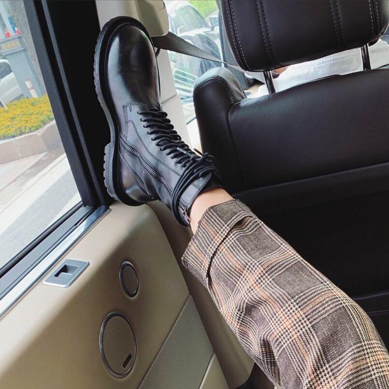 ANN马丁靴女英伦风平底短靴女百搭系带机车靴网红靴子中筒骑士靴