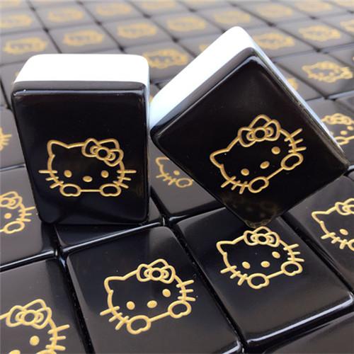 包邮家用kitty猫 叮当猫 水晶hellokitty麻将 炫黑金卡通麻将牌