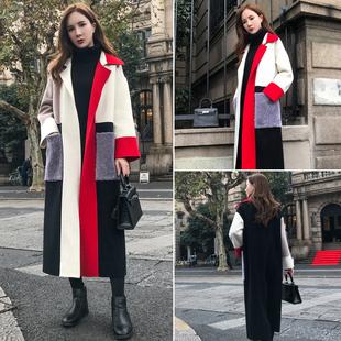 拼接撞色呢子大衣女冬2020新款韩版长款过膝显瘦加厚时尚毛呢外套
