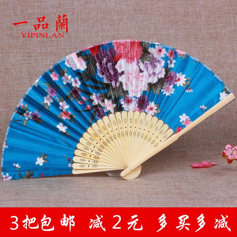 中国风古典汉服舞蹈扇子儿童小学生古风折扇女日式竹红色夏季随身