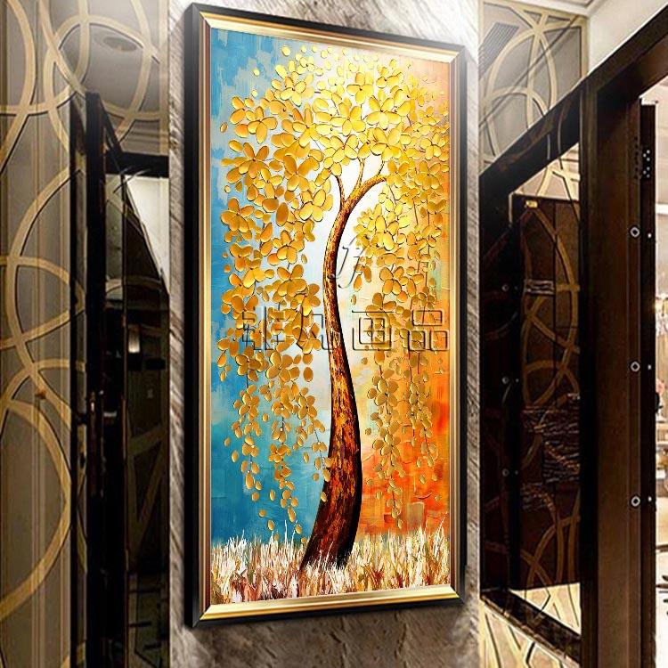 发财树玄关油画手绘立体现代客厅楼梯过道挂画壁画竖版装饰画定制345.60元包邮