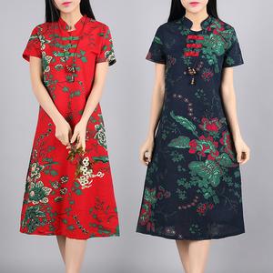 夏装新款宽松大码中长裙子复古民族风女装棉麻显瘦旗袍短袖连