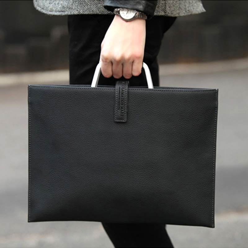 Handbag mens business leisure leather simple briefcase ultra thin cowhide hand small hand business 13 inch computer