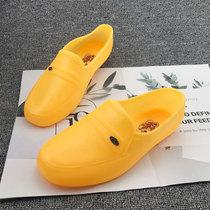 男胶鞋雨鞋防水男鞋男厨师鞋塑胶黄色工作厨房鞋工地建筑防滑平底