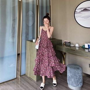 法式 春碎花蛋糕裙子雪纺连衣裙复古长裙 初恋仙女吊带裙女2020新款