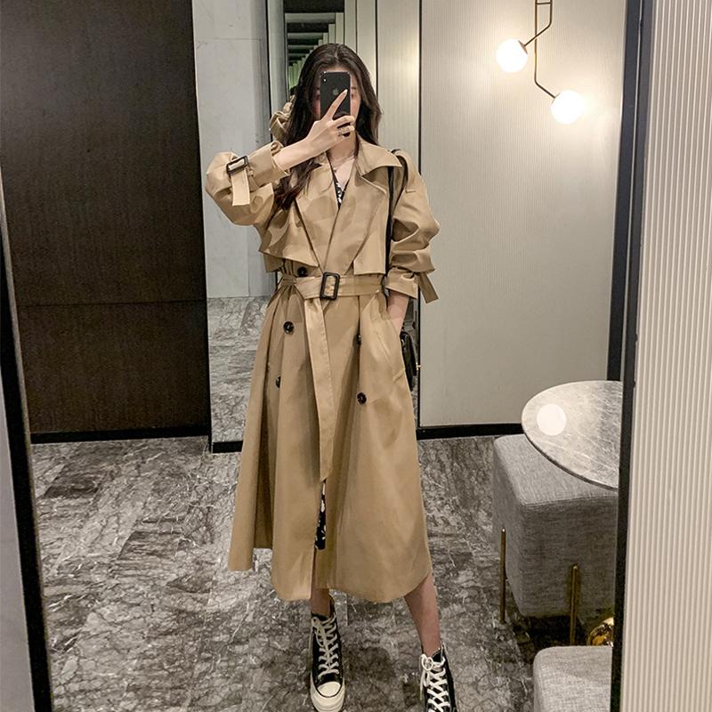 2021年春秋季新款韩版中长款风衣外套女小个子chic大衣流行秋装潮