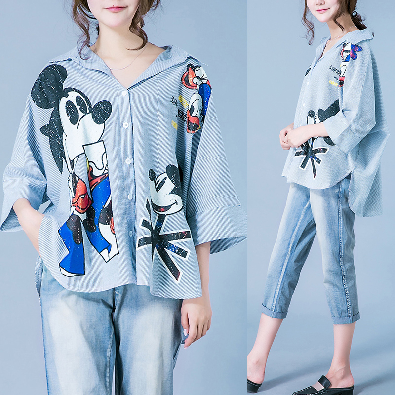 Cotton and hemp shirt womens middle length loose casual summer 2019 new blouse vertical stripe cartoon offset printing pattern