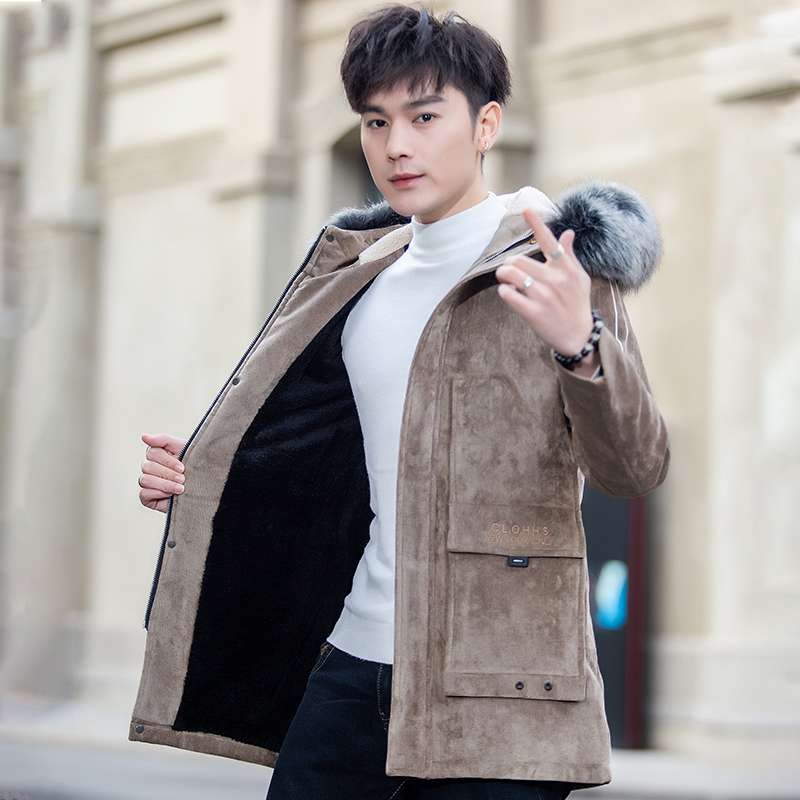 Fur body mens winter new mid long fur coat with fur collar hood slim fit and plush thickened youth jacket
