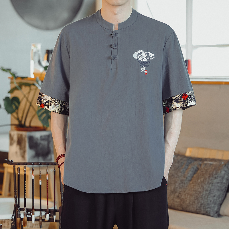 Linen short sleeve t-shirt mens Chinese style cotton hemp embroidered Tang style half sleeve top summer loose and large fashion men
