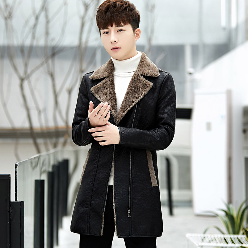 New cool mid long fur jacket for mens slim and plush fur trend coat