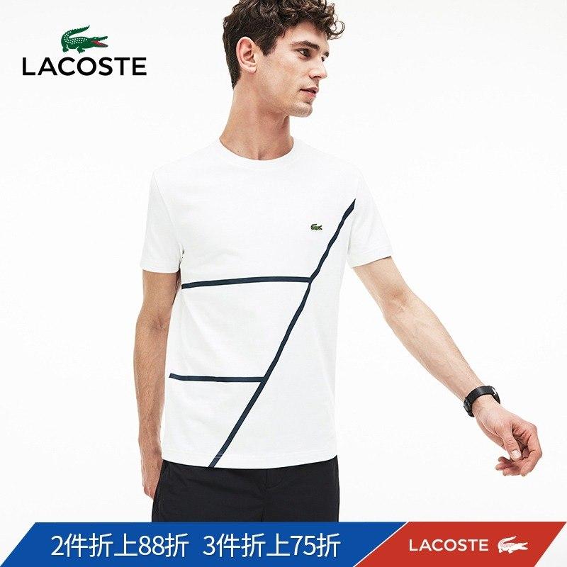 LACOSTE法国鳄鱼男装19春夏新品线条简约圆领男式T恤|TH3625M1