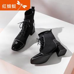 红蜻蜓女鞋2019新款韩版百搭粗跟中筒靴英伦风学生网红短靴马丁靴