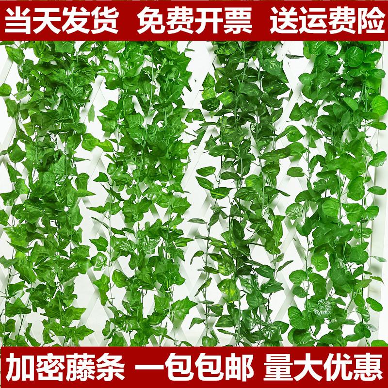 Simulation of grape leaves, vines, false flowers, vines, leaves, green leaves, water pipe ceiling decoration, plastic Pineapple leaves