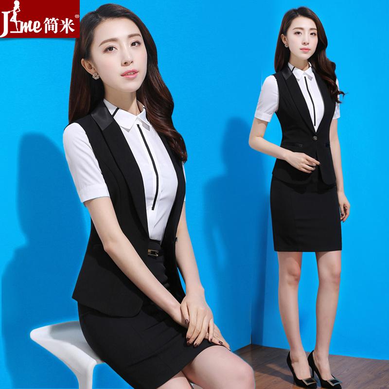 夏季职业装女装套装韩版OL套裙西装马甲正装气质修身美容师工作服