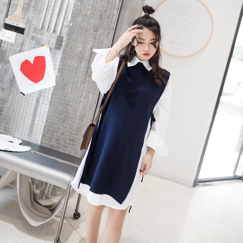 Отлично близко ребенок беременная женщина пружинный установлен новый беременная женщина длинная модель жилет вязание корейский свитер жилет длинная модель кружево