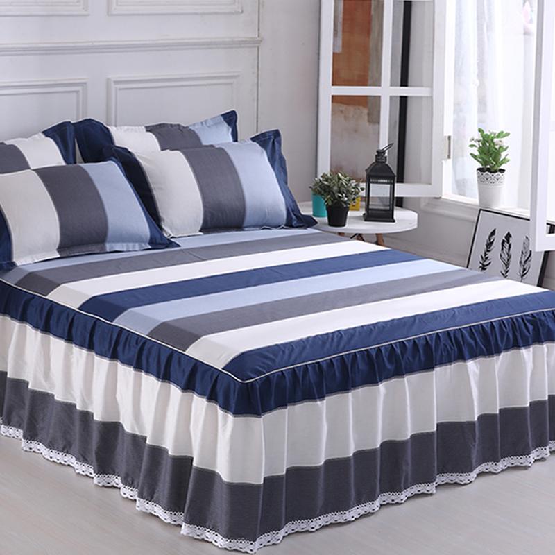 纯棉床裙式床罩单件保护防尘防滑床套床单1.8m1.5全棉1床群围裙2