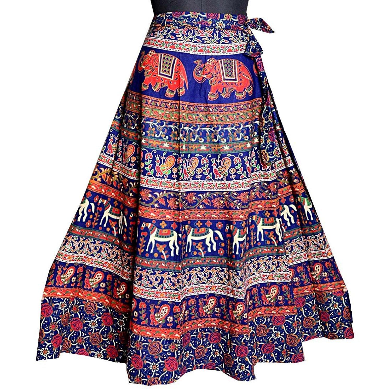 [印度100%] чистый хлопок [女子JAI] кожзаменитель [RI裹裙多色长度40英寸到脚踝长度 适合常规]