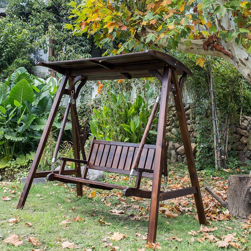 实木秋千户外双人摇椅家用木吊床吊椅防腐木庭院休闲椅儿童吊篮椅限时抢购