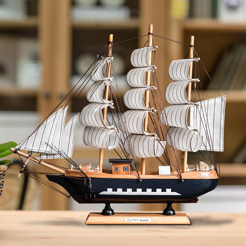 创意玄关架木质帆船模型一帆风顺家居房间装饰品摆件酒柜书柜摆设包邮