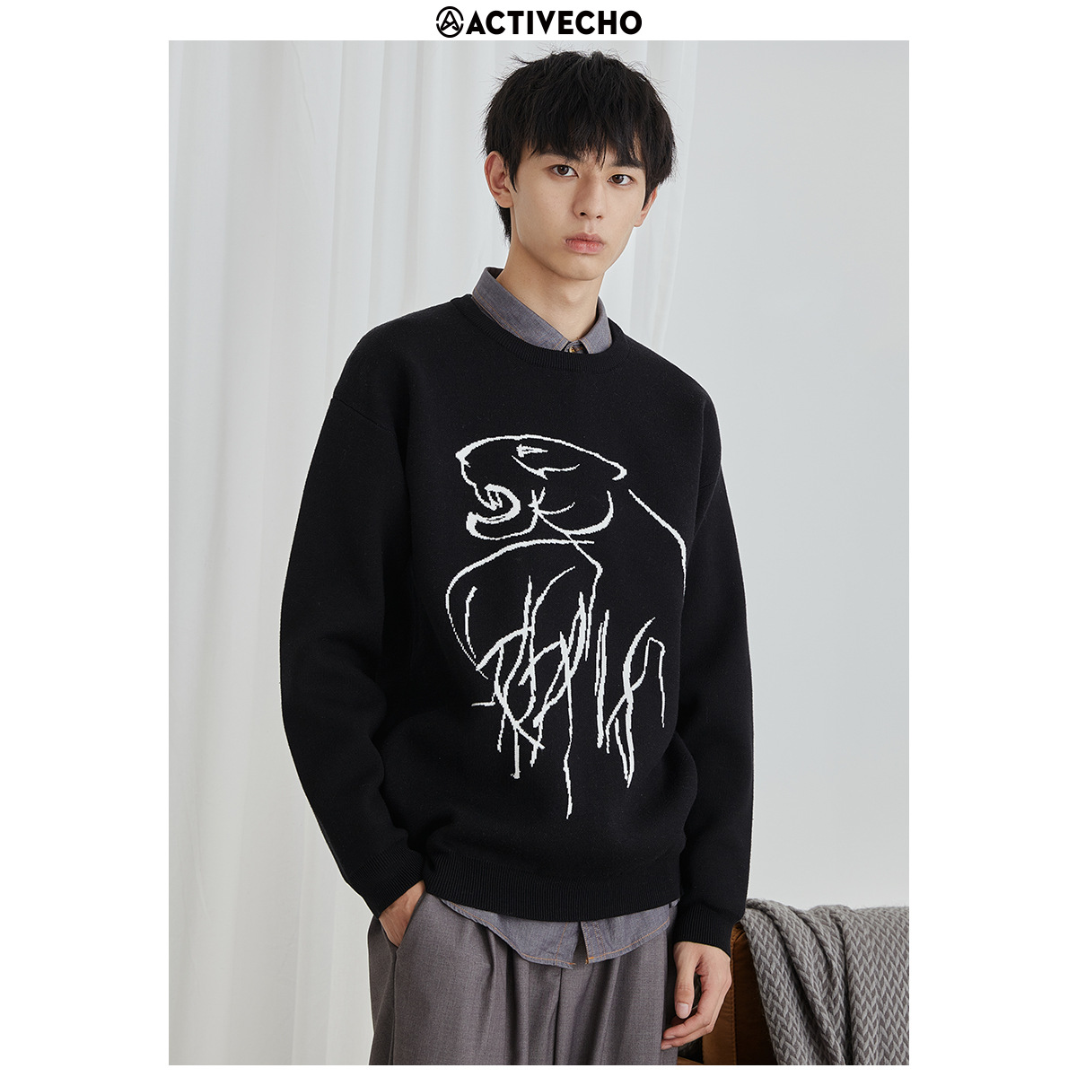 Aofeng mens autumn new fashion mens sweater coat Korean personalized tiger jacquard mens T-shirt
