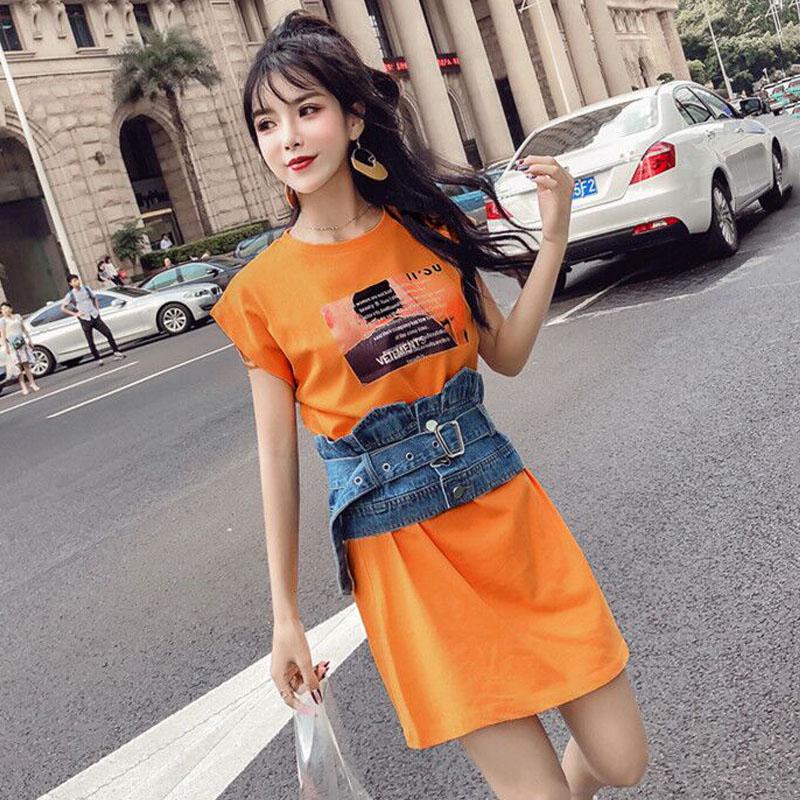 夏季女装韩版宽松百搭印花无袖T恤背心连衣裙+牛仔腰封两件套裙子