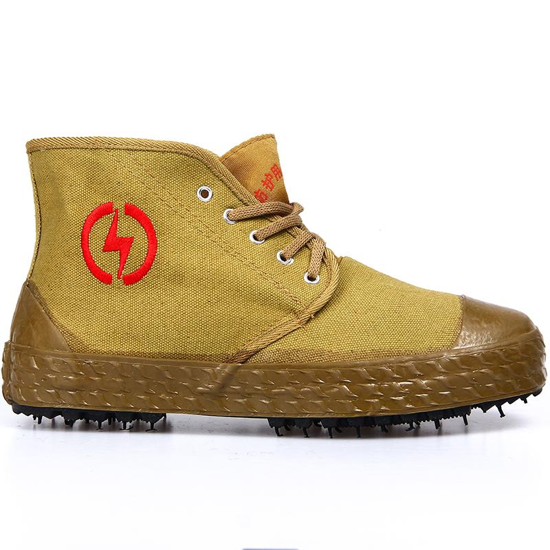 5kv/10kv电工绝缘鞋劳保棉鞋帆布透气高帮男女电力高压黄胶解放鞋