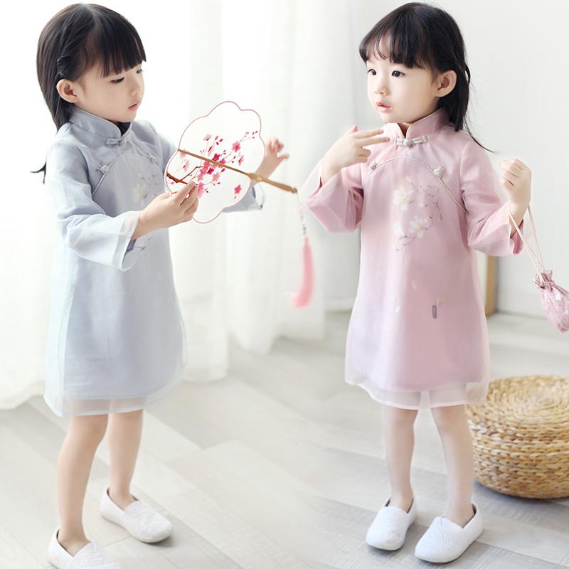 汉服亲子旗袍春秋中国复古连衣裙(非品牌)