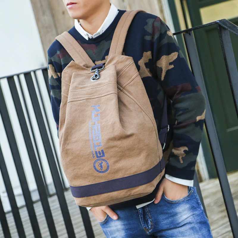 Backpack backpack mens and Korean leisure schoolgirl campus bucket bag Qingxin canvas fashion schoolbag