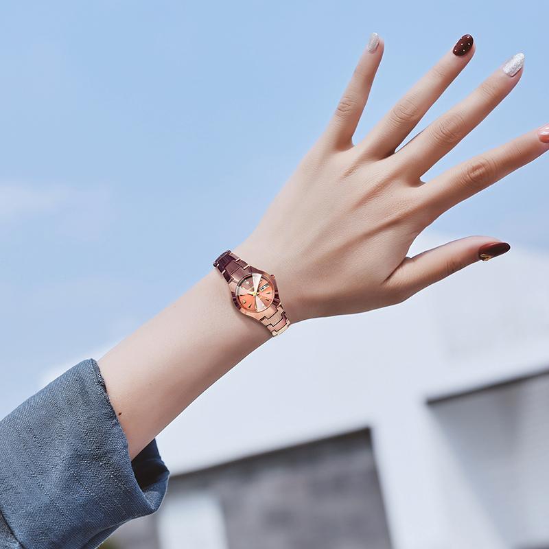 西卡丹正品女士手表夜光钨钢带石英水钻腕表防水时尚潮流2018新款