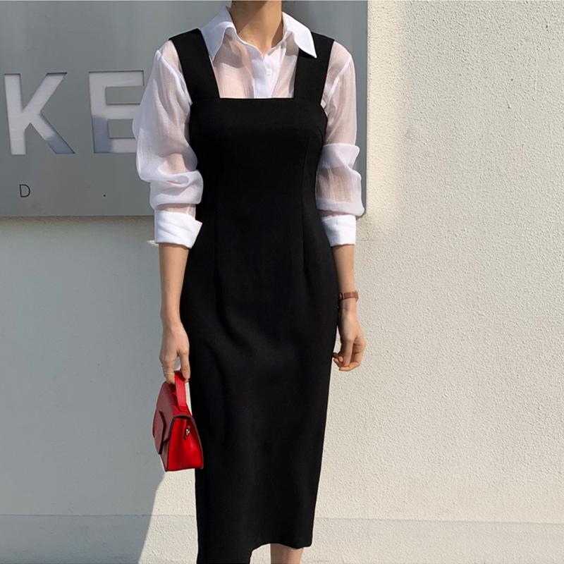 20韩版春秋职业收腰气质新款背带开叉修身显瘦包臀中长一步连衣裙
