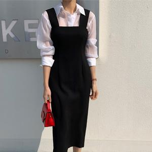 20韓版春秋職業收腰氣質新款背帶開叉修身顯瘦包臀中長一步連衣裙