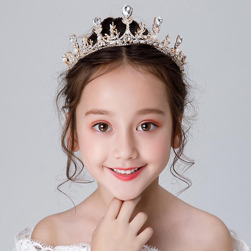 Childrens crown headdress Princess Girls Crown Crystal hairband golden ice and snow Wonderland Aisha girls birthday hairdress