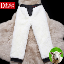 Winter Nest Autumn winter old cotton pants fur one male middle-aged and elderly thickened plus velvet sheepskin warm wool leather pants