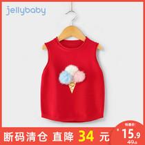 女童毛衣背心秋冬1-3岁女婴儿小童春秋宝宝红色洋气2儿童针织马甲