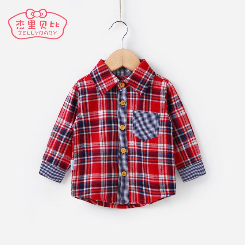 男童襯衫秋 嬰兒格子上衣純棉小童衣服秋裝0~1周2~3 一歲寶寶襯衣