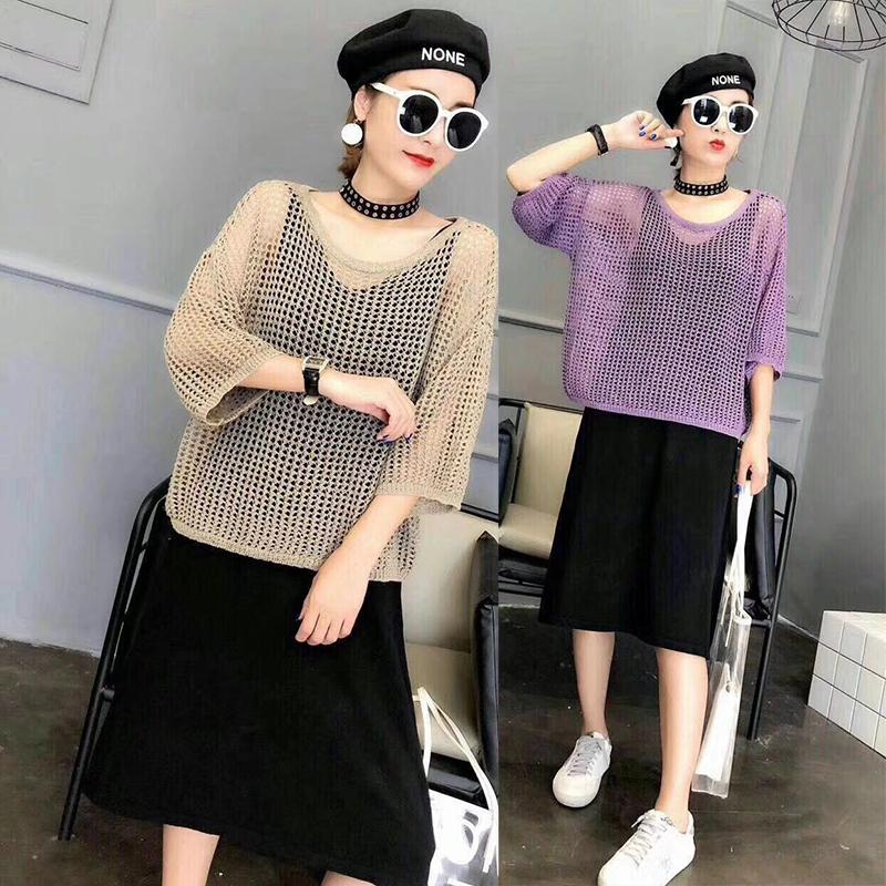 2018早秋女装新款针织镂空上衣鱼网衫女chic罩衫薄款两件套连衣裙
