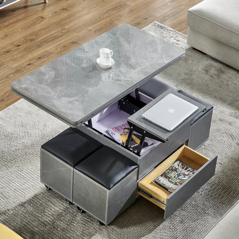 Moon dream blister lift coffee table modern simple small family telescopic storage tea table table table dual-purpose with stool