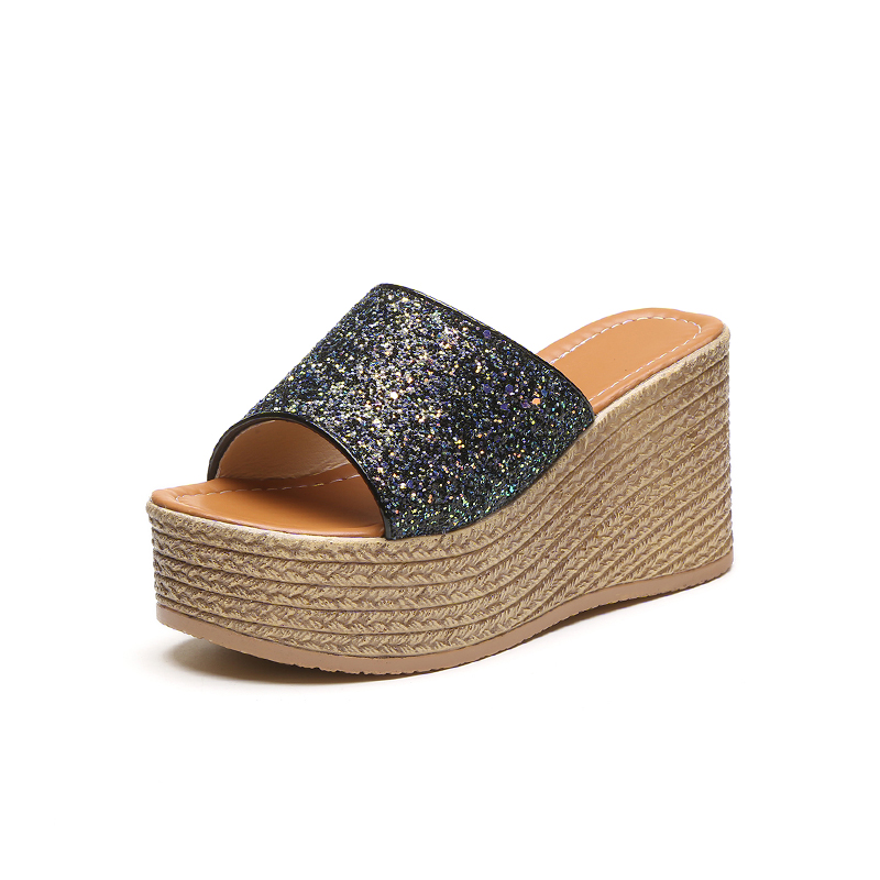2017 夏拖鞋一字拖涼鞋女鞋鬆糕外穿坡跟高跟 涼拖鞋女厚底