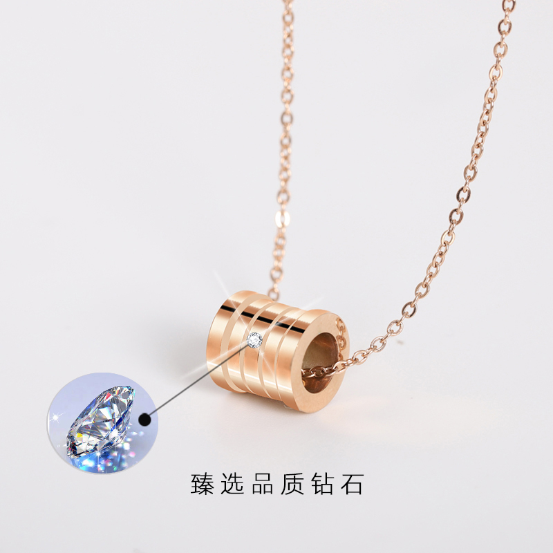 Fashion custom light luxury jewelry with diamond necklace, female clavicle chain, rose gold small waist pendant commemorative gift