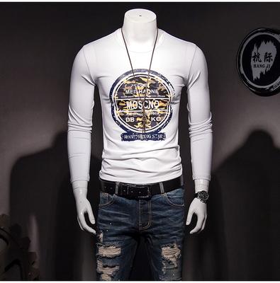 2018新款欧洲站潮流男装长袖T恤P60 电商D208货号H18