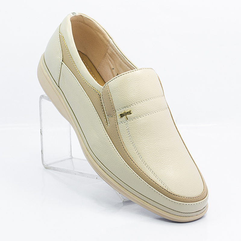 Summer new mens business casual shoes genuine leather off white light white shoes breathable soft soled dad shoes mens shoes