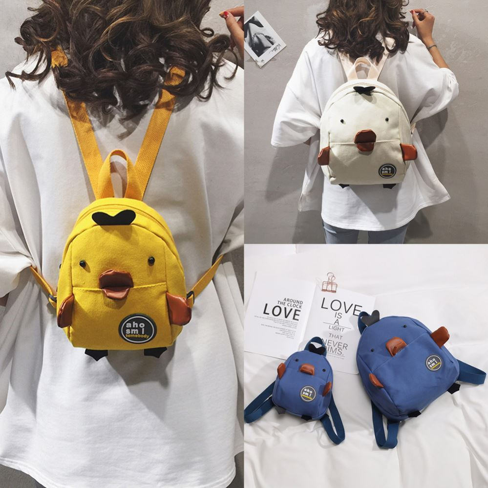 2019 new Korean version of little yellow duck cartoon cute little bag ins super fire Mini Backpack Canvas Backpack women