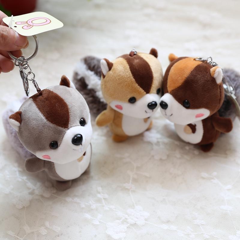 大尾巴松鼠毛绒玩具挂件小公仔书包挂饰包包钥匙扣迷你娃娃机饰品