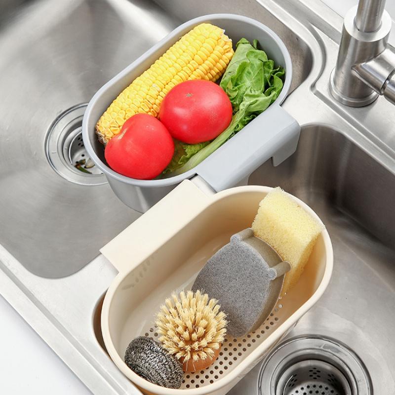可挂式沥水篮水槽洗菜篮水池厨房置物架厨余剩菜过滤水挂篮收纳