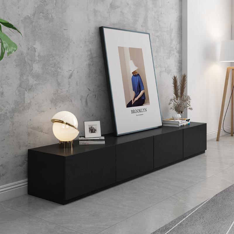 北欧简约现代黑色木质家具客厅矮柜