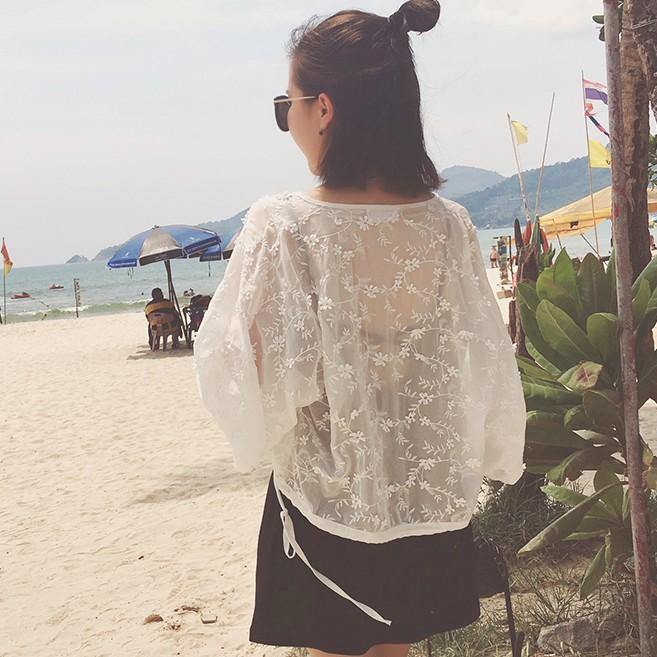 夏装女装韩版蕾丝刺绣雪纺衫女学生超薄开衫外搭防晒上衣短款外套