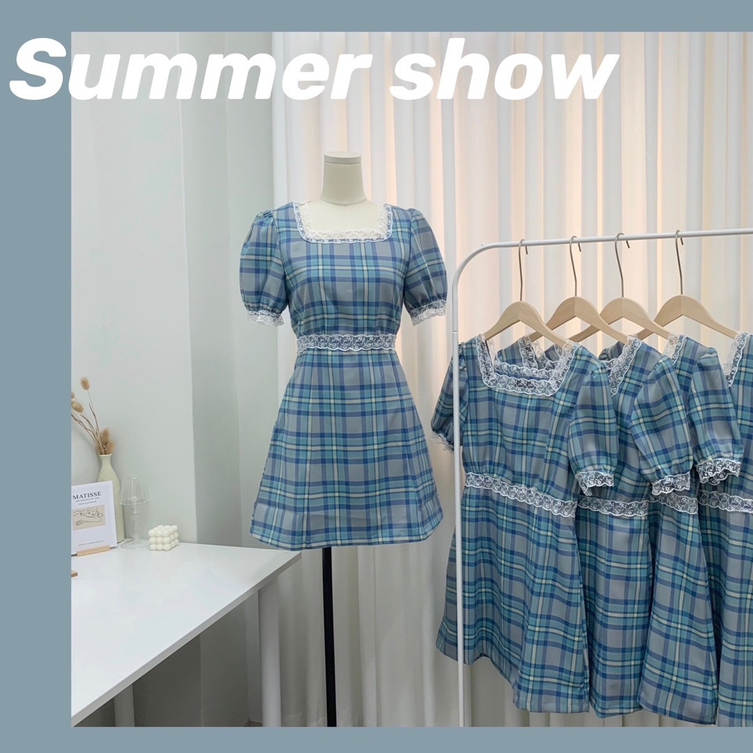 Big eees Rossettis Blue Plaid Dress for women summer small French retro square neck Bubble Sleeve Plaid Skirt